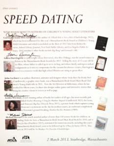 poster advertising the speed dating event at MSLA conference, with author signatures